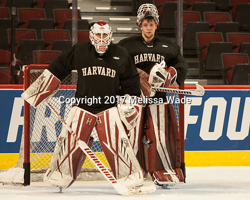 Sihak Lee (Harvard - 1), Cameron Gornet (Harvard - 32) - The Harvard University Crimson practiced at the United Center on Wednesday, April 5, 2017, in Chicago, Illinois.