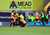 Cambridge United's Jabo Ibehre celebrates scoring the opening goal with team-mates<br /> <br /> Photographer Andrew Vaughan/CameraSport<br /> <br /> The EFL Sky Bet League Two - Cambridge United v Lincoln City - Saturday 29th December 2018  - Abbey Stadium - Cambridge<br /> <br /> World Copyright © 2018 CameraSport. All rights reserved. 43 Linden Ave. Countesthorpe. Leicester. England. LE8 5PG - Tel: +44 (0) 116 277 4147 - admin@camerasport.com - www.camerasport.com