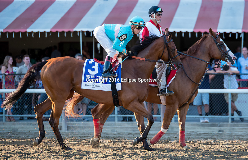 SARATOGA SPRINGS - AUGUST 27: Lady Eli #3, ridden by Irad Ortiz Jr., during the post parade before the Woodford Reserve Ballston Spa Stakes on Travers Stakes Day at Saratoga Race Course on August 27, 2016 in Saratoga Springs, New York. (Photo by Dan Heary/Eclipse Sportswire/Getty Images)