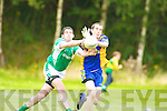 Spa's Aidan Cahill nips in.front of Milltown/Castlemaine's.Colm Kerins to.clear the danger in their.Intermediate Championship.quarter-final.
