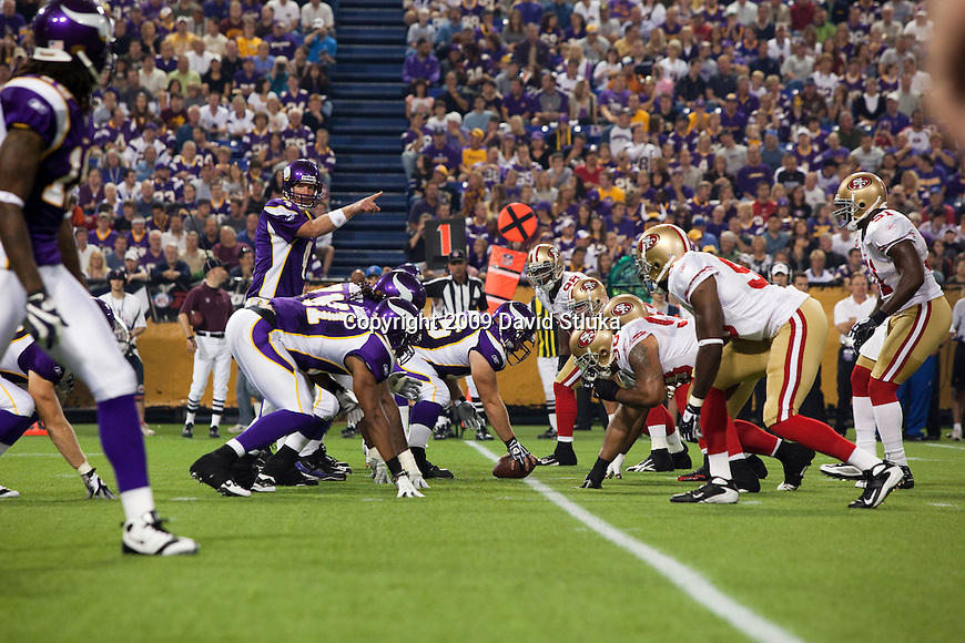 A general view of the line of scrimmage during the Minnesota Vikings NFL football game against the San Francisco 49ers at the Hubert H. Humphrey Metrodome on September 27, 2009 in Minneapolis, Minnesota. The Vikings won 27-24. (AP Photo/David Stluka)