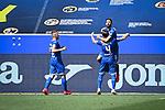 Jubel ueber das 3:0: Torschuetze Munas Dabbur (Hoffenheim, o.) jubelt mit Ermin Bicakcic (Hoffenheim).<br /> <br /> Sport: Fussball: 1. Bundesliga: Saison 19/20: 33. Spieltag: TSG 1899 Hoffenheim - 1. FC Union Berlin, 20.06.2020<br /> <br /> Foto: Markus Gilliar/GES/POOL/PIX-Sportfotos<br /> <br /> Foto © PIX-Sportfotos *** Foto ist honorarpflichtig! *** Auf Anfrage in hoeherer Qualitaet/Aufloesung. Belegexemplar erbeten. Veroeffentlichung ausschliesslich fuer journalistisch-publizistische Zwecke. For editorial use only. DFL regulations prohibit any use of photographs as image sequences and/or quasi-video.