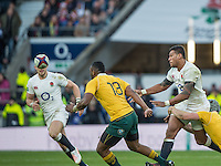 Twickenham, United Kingdom. Nathen HUGHES passes the ball, isolating, Tevita KURIDRANI,  as David POCOCK tackles him, during the Old Mutual Wealth Series Rest Match: England vs Australia, at the RFU Stadium, Twickenham, England, <br /> <br /> Saturday  03/12/2016<br /> <br /> [Mandatory Credit; Peter Spurrier/Intersport-images]