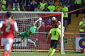 08/08/2015 Sky Bet League 1 Fleetwood Town v Southend United<br /> Dan Bentley  watches as Declan McManus's shot opens the scoring for Fleetwood Town