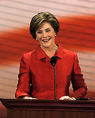 St. Paul, MN - September 2, 2008 -- First lady Laura Bush introduces her husband, United States President George W. Bush, who spoke via satellite to the 2008 Republican National Convention in St. Paul, Minnesota on Tuesday, September 2, 2008..Credit: Ron Sachs / CNP.(RESTRICTION: NO New York or New Jersey Newspapers or newspapers within a 75 mile radius of New York City)