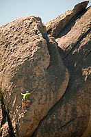 "Rock climber on ""Rock Lobster"" City of Rocks National Reserve, Idaho."
