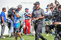 Jason Day (AUS) departs the first tee during round 4 Singles of the 2017 President's Cup, Liberty National Golf Club, Jersey City, New Jersey, USA. 10/1/2017. <br /> Picture: Golffile | Ken Murray<br /> <br /> All photo usage must carry mandatory copyright credit (&copy; Golffile | Ken Murray)
