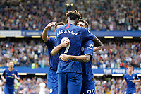 GOAL - Tammy Abraham of Chelsea gets hugs for his second goal during the Premier League match between Chelsea and Sheff United at Stamford Bridge, London, England on 31 August 2019. Photo by Carlton Myrie / PRiME Media Images.