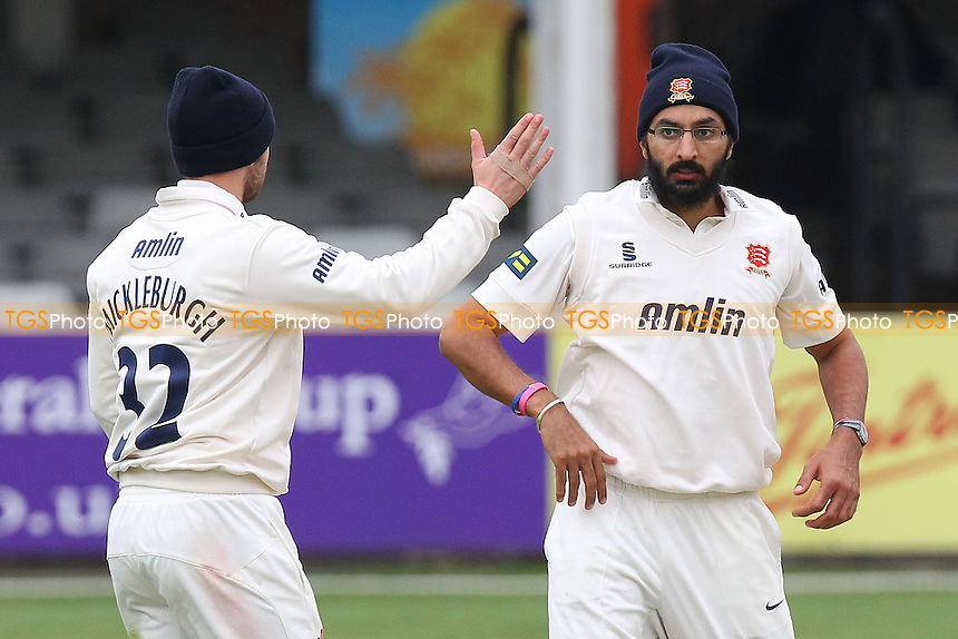 Monty Panesar of Essex celebrates the wicket of Adam Ball - Essex CCC vs Kent CCC - Pre-Season Friendly Cricket Match at the Essex County Ground, Chelmsford - 04/04/14 - MANDATORY CREDIT: Gavin Ellis/TGSPHOTO - Self billing applies where appropriate - 0845 094 6026 - contact@tgsphoto.co.uk - NO UNPAID USE