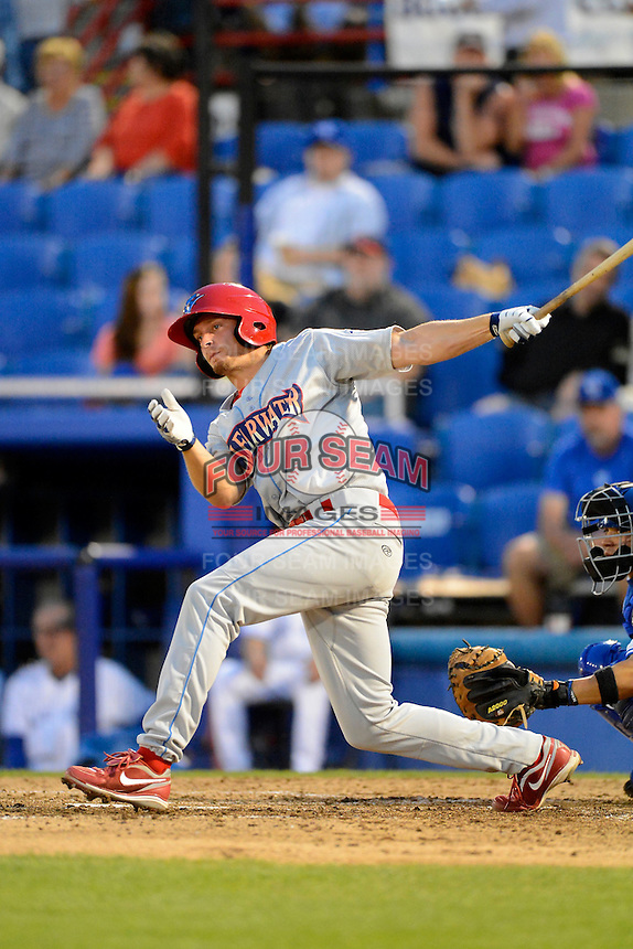 Clearwater Threshers shortstop Jonathan Roof #15 during a game against the Dunedin Blue Jays at Florida Auto Exchange Stadium on April 4, 2013 in Dunedin, Florida.  Dunedin defeated Clearwater 4-2.  (Mike Janes/Four Seam Images)