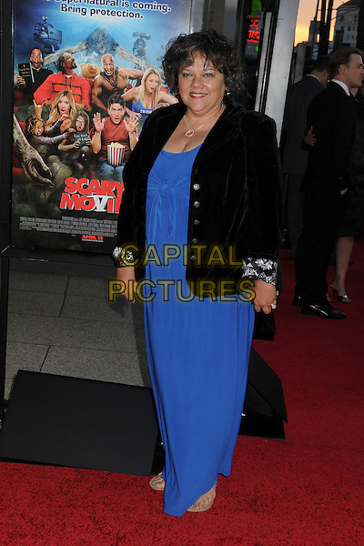 "Lidia Porto.Attending the ""Scary Movie 5"" Los Angeles film premiere held at the Cinerama Dome,  Hollywood, California, USA, .11th April 2013..full length blue long maxi dress black jacket velvet  .CAP/ADM/BP.©Byron Purvis/AdMedia/Capital Pictures"