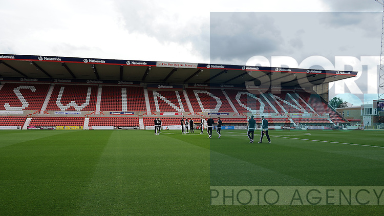 The Sheffield United team walk on to the County Ground before the start of the match<br /> - English League One - Swindon Town vs Sheffield Utd - County Ground Stadium - Swindon - England - 29th August 201