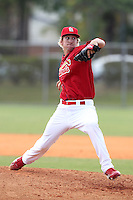 St. Louis Cardinals minor league pitcher Jordan Swagerty #15 delivers a pitch during a spring training game vs the Florida Marlins at the Roger Dean Sports Complex in Jupiter, Florida;  March 25, 2011.  Photo By Mike Janes/Four Seam Images