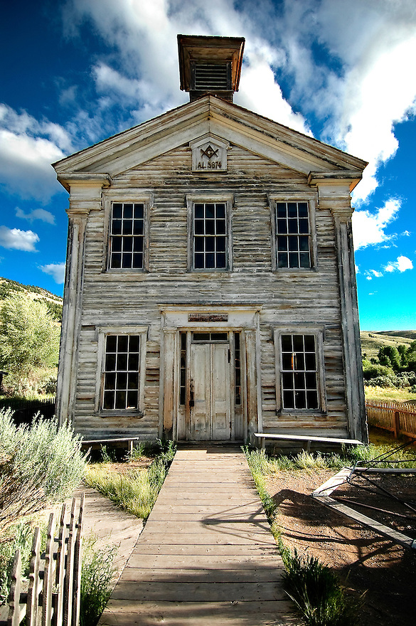 The old school house at Bannack ghost town houses the Montana's oldest Masonic lodge on the second floor.