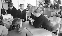 Awaiting the morning register, Whitworth Comprehensive School, Whitworth, Lancashire.  1970.