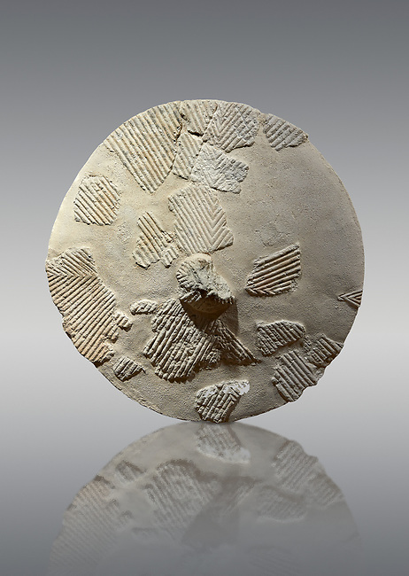 9th century BC Giants of Mont'e Prama  Nuragic stone shield, Mont'e Prama archaeological site, Cabras. Museo archeologico nazionale, Cagliari, Italy. (National Archaeological Museum) - Grey Background