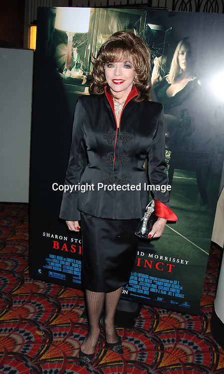 "Joan Collins ..at The Wolld Premiere of ""Basic Instinct 2"" starring ..Sharon Stone and David Morrissey on March 27, 2006..at The Loews Lincoln Square Theatre. ..Robin Platzer, Twin Images"