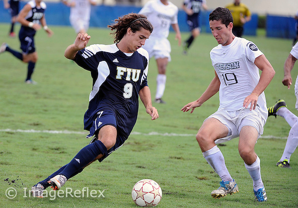 Florida International University men's soccer player Nicolas Rodriguez-Fraile (9) plays against Stetson University on September 10, 2011 at Miami, Florida.  FIU won the game in overtime 3-2. .