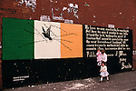 Ireland The Troubles. Belfast 1980s. Catholic mural wall painting poem by Bobby Sands while on Hunger Strike in the H Block Long kesh Internment camp.