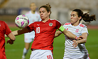 20180228 - LARNACA , CYPRUS : Austrian Nina Burger and Spanish Eunate Arraiza Otazu (r) pictured in a duel during a women's soccer game between Spain and Austria , on wednesday 28 February 2018 at GSZ Stadium in Larnaca , Cyprus . This is the first game in group B for Spain and Austria during the Cyprus Womens Cup , a prestigious women soccer tournament as a preparation on the World Cup 2019 qualification duels. PHOTO SPORTPIX.BE | DAVID CATRY