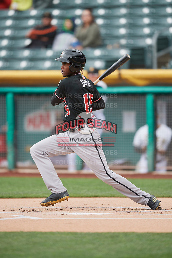 Raimel Tapia (15) of the Albuquerque Isotopes bats against the Salt Lake Bees at Smith's Ballpark on April 8, 2018 in Salt Lake City, Utah. Albuquerque defeated Salt Lake 11-4. (Stephen Smith/Four Seam Images)
