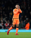 Liverpool's Alex Oxlade-Chamberlain applauds the Arsenal crowd during the premier league match at the Emirates Stadium, London. Picture date 22nd December 2017. Picture credit should read: David Klein/Sportimage