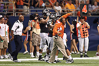 SAN ANTONIO, TX - SEPTEMBER 3, 2011: The Northeastern State UNiversity RiverHawks vs. the University of Texas at San Antonio Roadrunners in the Inaugural Game of the UTSA Football program at the Alamodome. (Photo by Jeff Huehn)