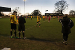 Alvechurch FC 3 Highgate United 0, 26/12/2016. Lye Meadow, Midland Football League Premier Division. The home team prepare to make a substitution during the second-half at Lye Meadow as Alvechurch (in amber) hosted Highgate United in a Midland Football League premier division match. Originally founded in 1929 and reformed in 1996 after going bust, the club has plans to move from their current historic ground to a new purpose-built stadium in time for the 2017-18 season. Alvechurch won this particular match by 3-0, watched by 178 spectators, taking them back to the top of the league. Photo by Colin McPherson.