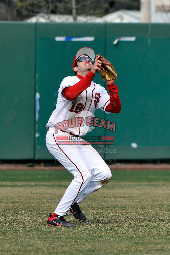 St.John's Red Storm outfielder Jeremy Baltz (18)  during a game vs. the Cincinnati Bearcats at Jack Kaiser Stadium in Queens, NY;  March 25, 2011.  St. John's defeated Cincinnati 3-2.  Photo By Tomasso DeRosa/Four Seam Images