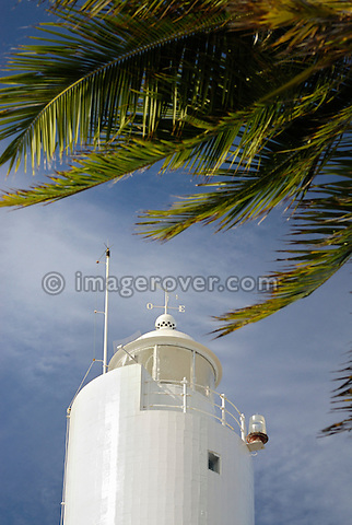 Brazil. Bahia, Praia do Forte. Lighthouse at the Projeto Tamar. The Projeto TAMAR is a Brazilian non-profit organization with the main aim to protect sea turtles from extinction in the Brazilian coastline.