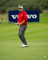 15.10.2014. The London Golf Club, Ash, England. The Volvo World Match Play Golf Championship.  Day 1 group stage matches.  Victor Dubuisson (FRA) on the eighth green.