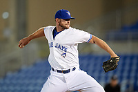 Dunedin Blue Jays relief pitcher Jackson McClelland (52) delivers a pitch during a game against the Tampa Tarpons on June 2, 2018 at Dunedin Stadium in Dunedin, Florida.  Dunedin defeated Tampa 4-0.  (Mike Janes/Four Seam Images)