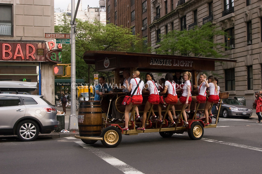 New York, NY - May 15th - Amstel Light Beer Bike, or PedalPub, on Amsterdm Avenue during the Amstel Light Beer Festival.