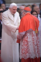 Cardinal Luis Hector Villalba.Pope Benedict XVI,during a consistory for the creation of new Cardinals at St. Peter's Basilica in Vatican.February 14, 2015
