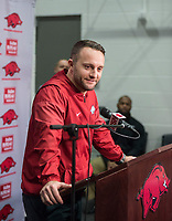 NWA Democrat-Gazette/BEN GOFF @NWABENGOFF<br /> Joe Craddock, Arkansas offensive coordinator, speaks Wednesday, Jan. 10, 2018, during a press conference to introduce new assistant coaches at the Fred W. Smith Football Center in Fayetteville.