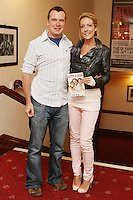 26/8/2010. NO REPRO FEE. Little Gem Opening night.  Brendan Roche and Alison Ryan are pictured at the Olympia Theatre Dublin for the opening night of Little Gem. Hilda Fay makes her return as Lorraine, Anita Reeves continues in the role of Kay, and Genevieve Hulme-Beaman takes on the role of Amber. After sell-out seasons in New York, London and Paris and a sold-out 7-week run at Ireland's National Theatre, Gúna Nua is bringing its bittersweet comedy Little Gem back to Dublin for 10 shows only at The Olympia Theatre from August 26 to September 4, 2010. Love, sex, birth, death, dildos and salsa classes: Elaine Murphy's award winning Little Gem sees three generations of Dublin women on a wild and constantly surprising journey. Picture James Horan/Collins Photos