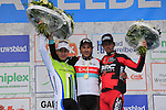 Winner Fabian Cancellara (SUI) Radioshack Leopard Trek with Peter Sagan (SVK) Cannondale in 2nd place and Daniel Oss (ITA) BMC Racing Team 3rd on the podium at the end of the 56th edition of the E3 Harelbeke, Belgium, 22nd  March 2013 (Photo by Eoin Clarke 2013)