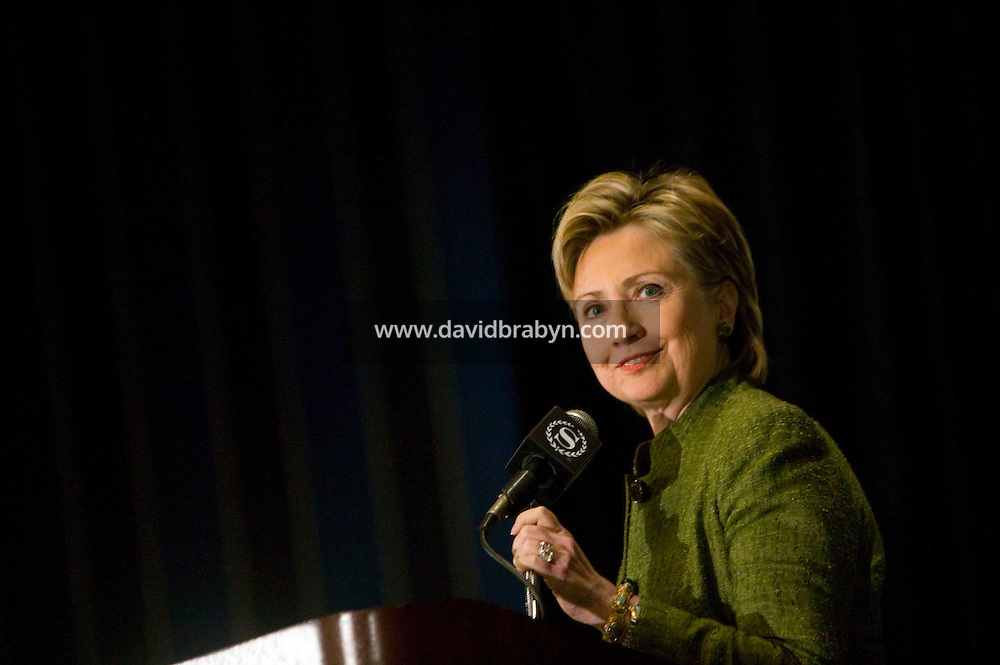 20 April 2007 - New York City, NY - Democratic presidential hopeful senator Hillary Clinton speaks at the 9th annual National Action Network convention in New York City, USA, 20 April 2007.