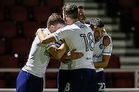 Paul Hayes of Wycombe Wanderers (2nd right) celebrates scoring his team's 2nd goal of the game to make it 0-2 during The Checkatrade Trophy match between Northampton Town and Wycombe Wanderers at Sixfields Stadium, Northampton, England on 30 August 2016. Photo by David Horn / PRiME Media Images.