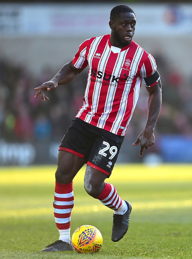 Lincoln City's John Akinde<br /> <br /> Photographer Andrew Vaughan/CameraSport<br /> <br /> The EFL Sky Bet League Two - Lincoln City v Stevenage - Saturday 16th February 2019 - Sincil Bank - Lincoln<br /> <br /> World Copyright © 2019 CameraSport. All rights reserved. 43 Linden Ave. Countesthorpe. Leicester. England. LE8 5PG - Tel: +44 (0) 116 277 4147 - admin@camerasport.com - www.camerasport.com