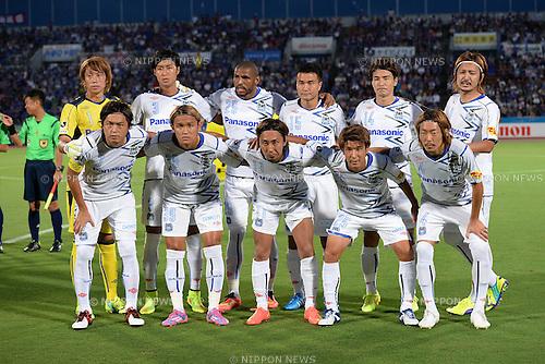 Gamba Osaka team group line-up,<br /> AUGUST 23, 2014 - Football / Soccer :<br /> Gamba Osaka team group shot (Top row - L to R) Masaaki Higashiguchi, Takaharu Nishino, Patric, Yasuyuki Konno, Koki Yonekura, Keisuke Iwashita, (Bottom row - L to R) Yasuhito Endo, Takashi Usami, Shu Kurata, Kenya Okazaki and Hiroki Fujiharu before the 2014 J.League Division 1 match between Ventforet Kofu 3-3 Gamba Osaka at Yamanashi Chuo Bank Stadium in Yamanashi, Japan. (Photo by AFLO)