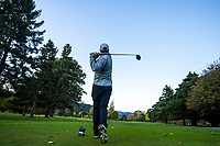 Anthony Dearmer tees off at the tenth. Royal Wellington Golf Club in Trentham during the COVID-19 pandemic in Wellington, New Zealand on Wednesday, 6 May 2020. Photo: Dave Lintott / lintottphoto.co.nz