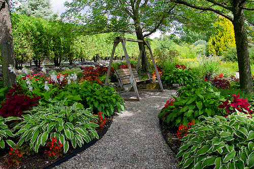 Horizontal wooden swing at Pineland garden with hastas and coleus