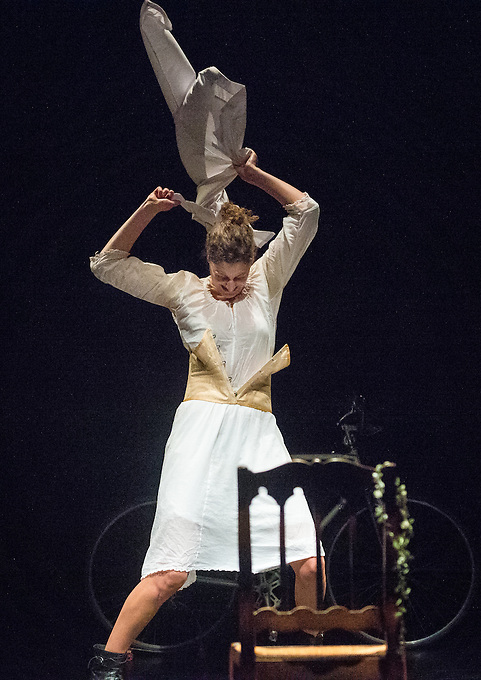 """Marie-Charlotte Dracon in the solo dual acting role as Elisewin and Père Pluche in a 40 minute play titled Elisewin et Pluche, performed at the Town Hall in Rouen, France on Wednesday 12th November 2014 as part of the festival Z'azimuts, and on Thursday 13th November at the theatre Salle Louis Jouvet, 153 rue Albert Dupuis, Rouen. The play was conceived and written by Amelie Chalmey, in conjunction with Marie-Charlotte Dracon, based on the book by Italian author Alessandro Baricco """"Océan Mer"""" first published in 1993. Thursday 13th November 2014."""