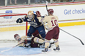 Michael Matheson (BC - 5), Bryan Rust (ND - 21), Danny Linell (BC - 10) - The Boston College Eagles defeated the visiting University of Notre Dame Fighting Irish 4-2 to tie their Hockey East quarterfinal matchup at one game each on Saturday, March 15, 2014, at Kelley Rink in Conte Forum in Chestnut Hill, Massachusetts.