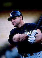 Dante Bichette of the Colorado Rockies participates in a Major League Baseball game at Dodger Stadium during the 1998 season in Los Angeles, California. (Larry Goren/Four Seam Images)