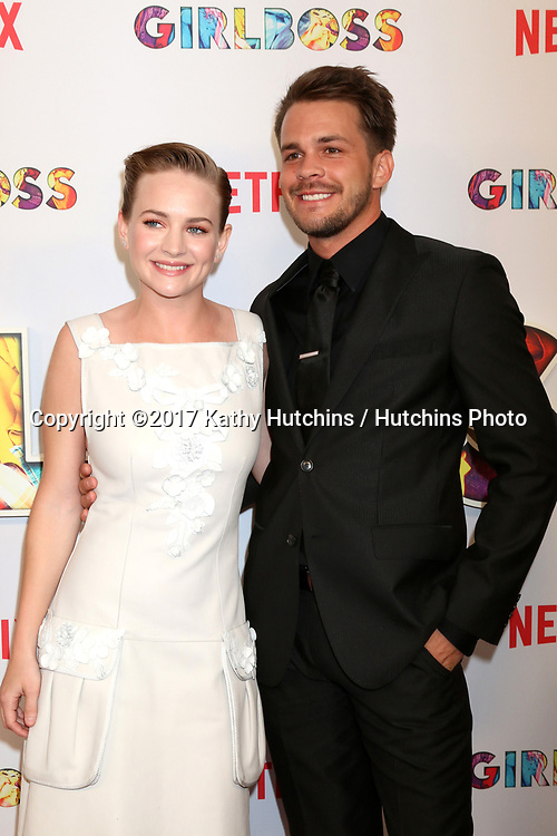 "LOS ANGELES - APR 17:  Britt Robertson, Johnny Simmons at the ""Girlboss"" Premiere Screening at ArcLight Theater on April 17, 2017 in Los Angeles, CA"