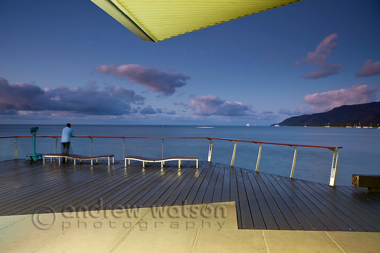 Viewing deck on Esplanade boardwalk at dusk.  Cairns, Queensland, Australia