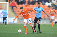 Blackpool's Chris Long under pressure from Southend United's Timothee Dieng<br /> <br /> Photographer Kevin Barnes/CameraSport<br /> <br /> The EFL Sky Bet League One - Blackpool v Southend United - Saturday 9th March 2019 - Bloomfield Road - Blackpool<br /> <br /> World Copyright © 2019 CameraSport. All rights reserved. 43 Linden Ave. Countesthorpe. Leicester. England. LE8 5PG - Tel: +44 (0) 116 277 4147 - admin@camerasport.com - www.camerasport.com