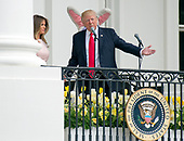 United States President Donald J. Trump makes opening remarks as he and first lady Melania Trump host the annual Easter Egg Roll on the South Lawn of the White House in Washington, DC on Monday, April 17, 2017.<br /> Credit: Ron Sachs / CNP